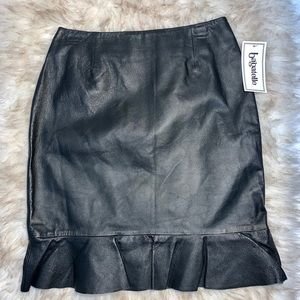 Bagatelle NWT Black Leather Skirt with Ruffle Sz 8